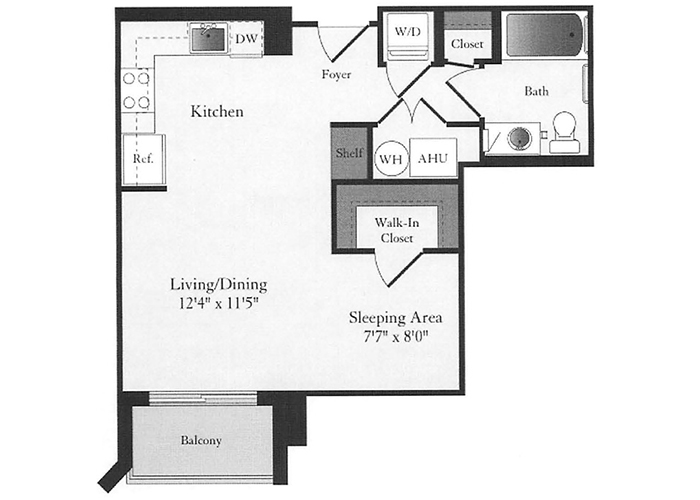 Phoenix - A1 Floorplan - 1 Bed, 1 Bath
