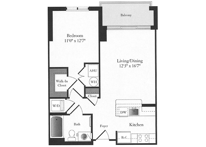 Phoenix - B2 Floorplan - 1 Bed, 1 Bath