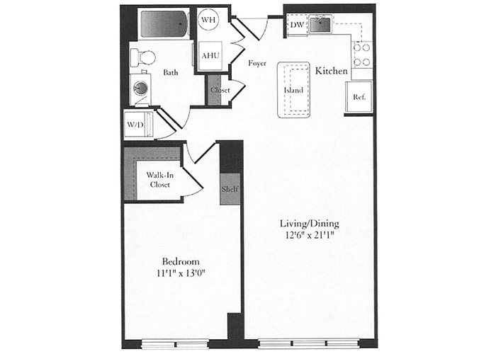 Phoenix - B5.1 Floorplan - 1 Bed, 1 Bath