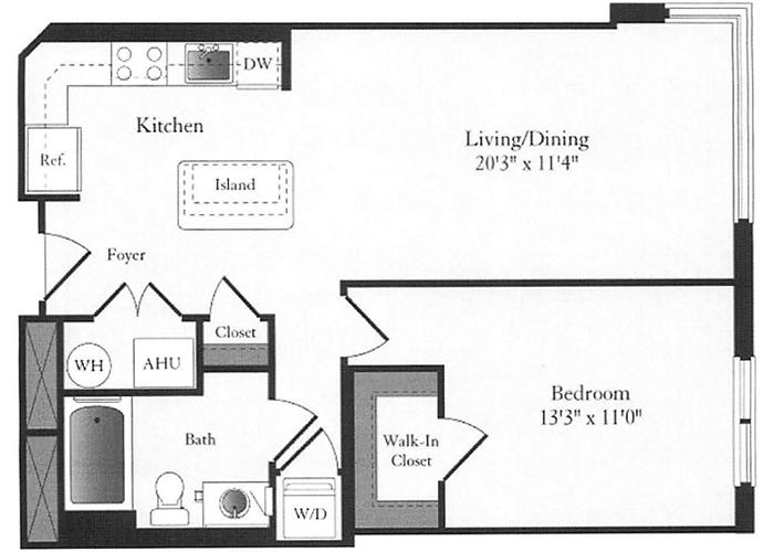 Phoenix - B8 Floorplan - 1 Bed, 1 Bath
