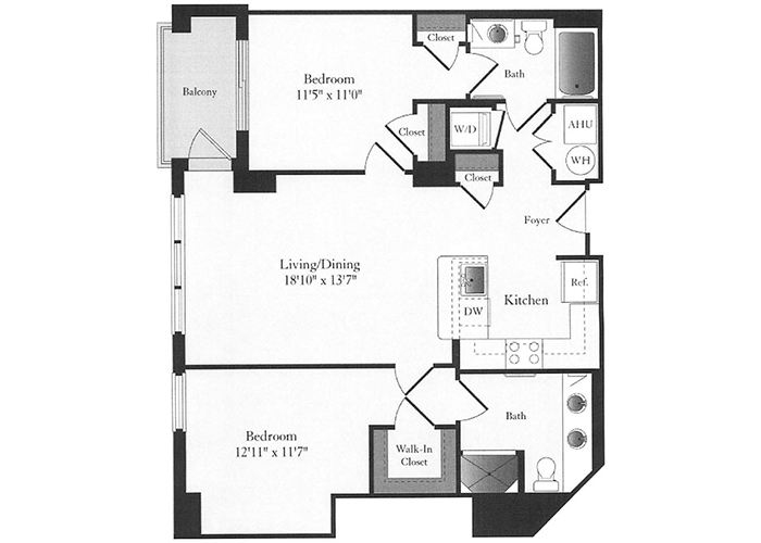 Phoenix - D1 Floorplan - 2 Bed, 2 Bath
