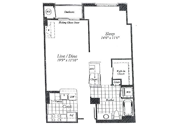 Unit A05 Floor 2-7 One Bedroom