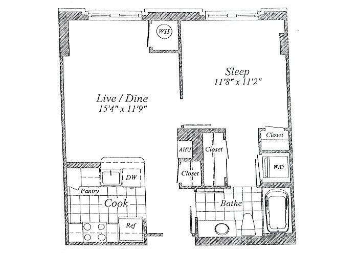 Unit A07  Floor 1-6 One Bedroom