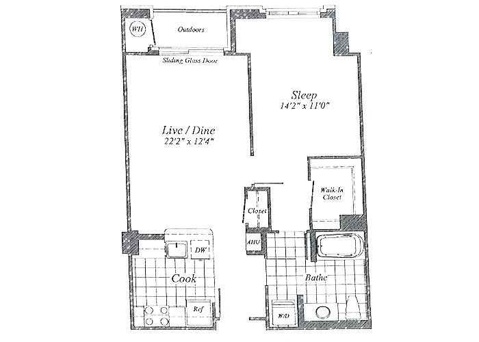 Unit A08 Floor 1 One Bedroom