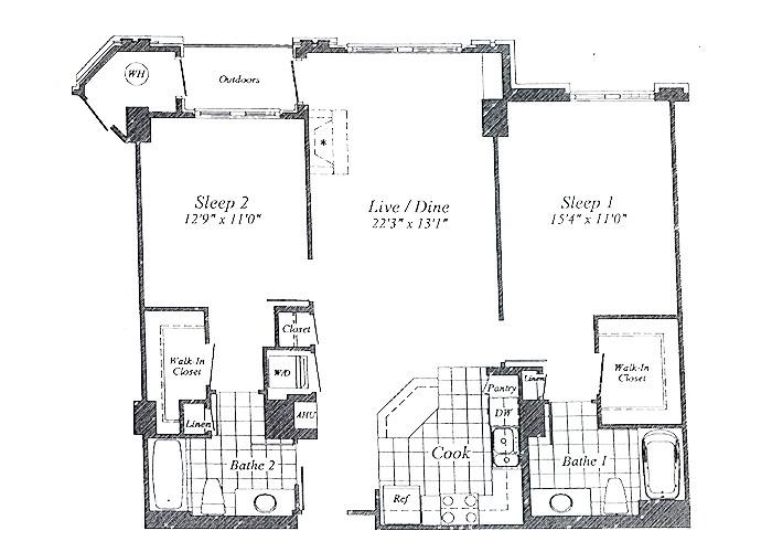 Unit C01(rear) Floor 3-9 Two Bedroom