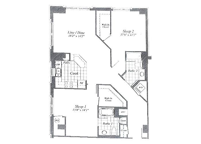 Unit C02 B1 Level Two Bedroom