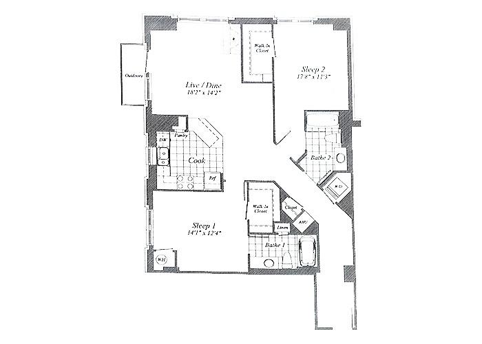 Unit C02 Floor 1-7 Two Bedroom
