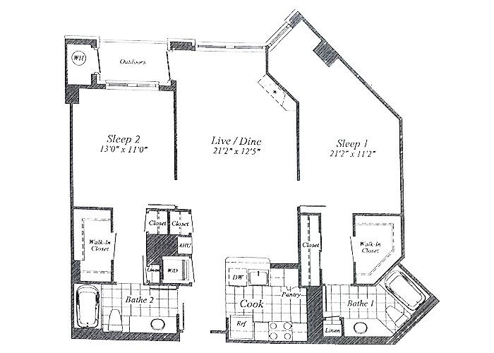 Unit C04 B1 Level Floor 1-9 Two Bedroom