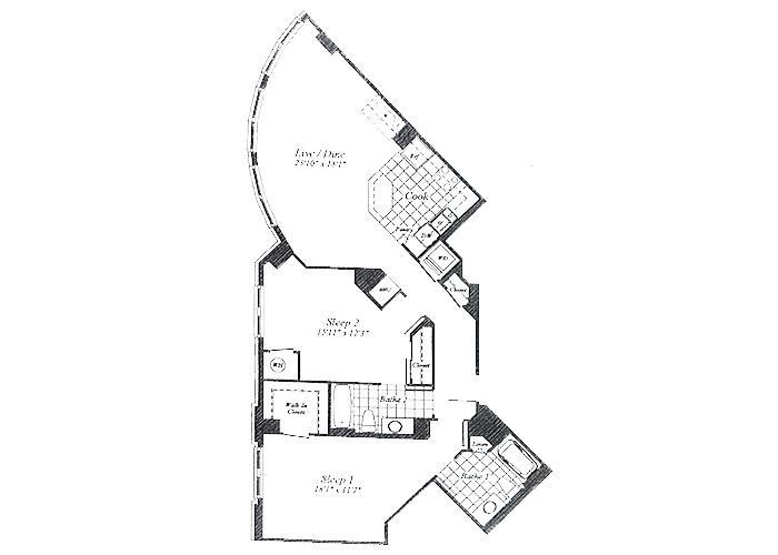 Unit C05 B1 Level Floor 1-6 Two Bedroom